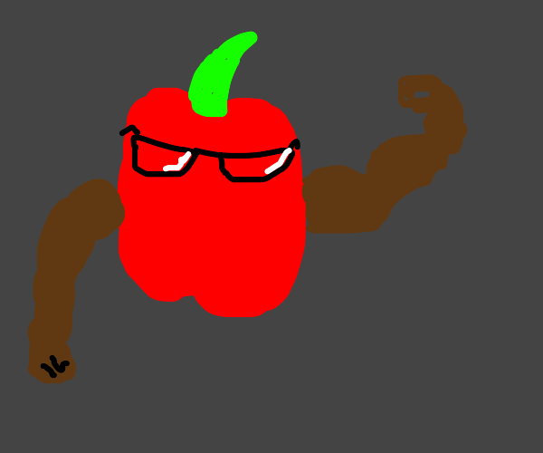 pepper with glasses and a brown arm