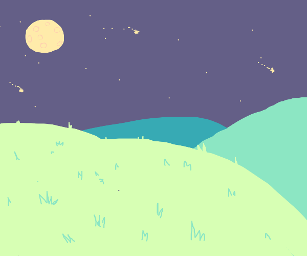 Nighttime view of a grassy hill