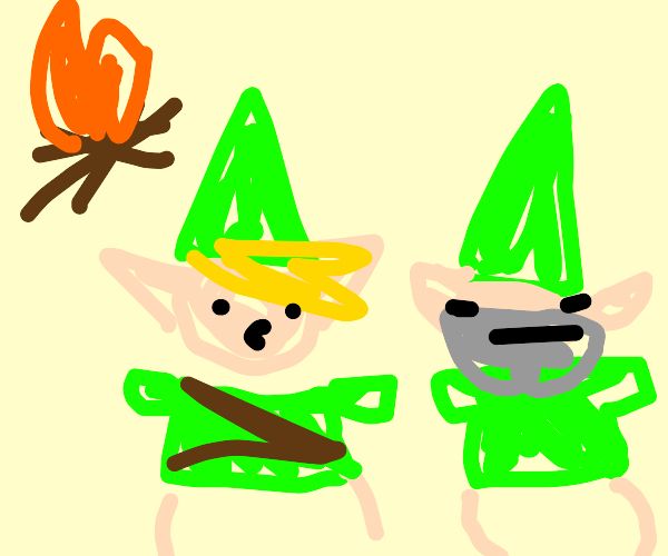 Link talks to a gnome near a camp fire.
