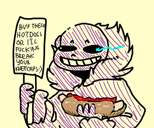 Purple sans advertises hotdogs