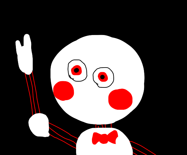 Animatronic with bows and red cheeks