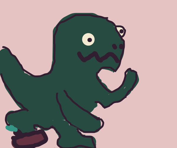 long armed t rex almost trips on stick