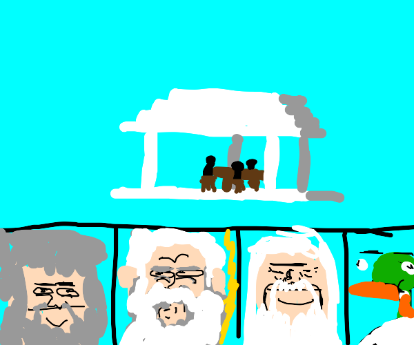 God, Zeus a bird and Odin have a meeting