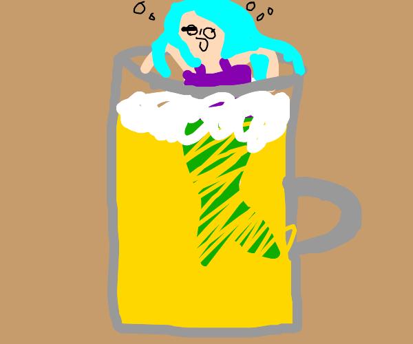 Mermaid swimming in beer