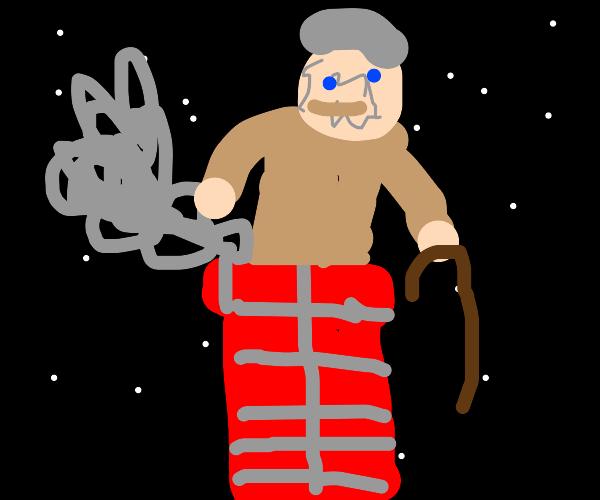 old man stuck in chimney