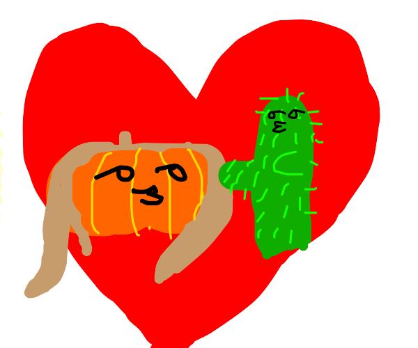 Pumkin girl and cactus boy