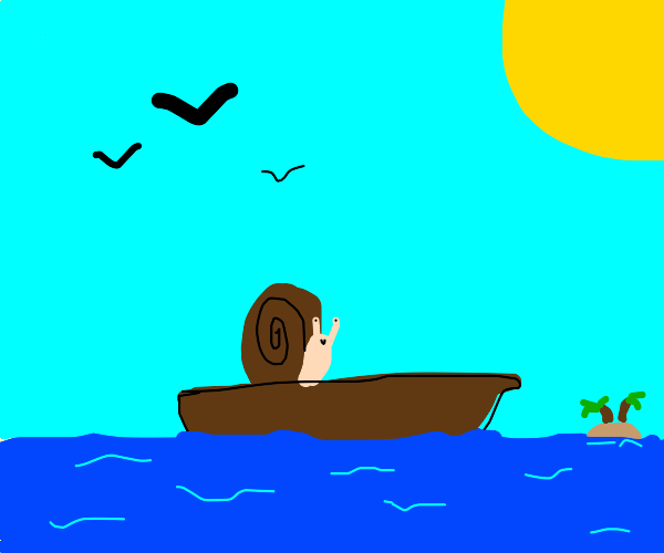 Snail enjoying a rowboat ride