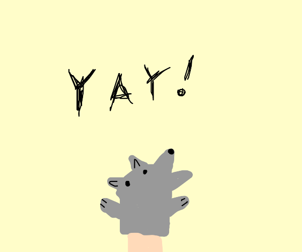 Wolf hand puppet is exciting