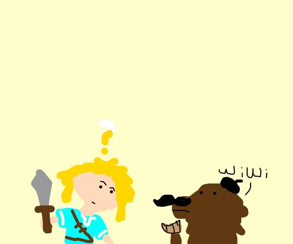 france dog talking to zelda link