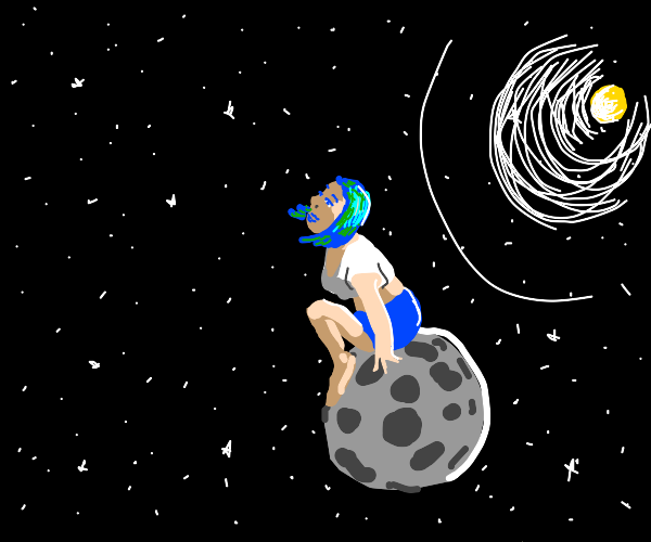Gigantic girl stands on top of the moon