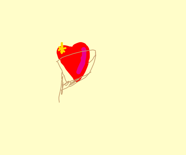 Glossy heart in a wrapper
