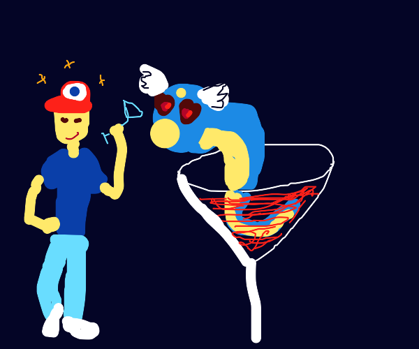 Ash is happy/drunk for Dratini Martini.