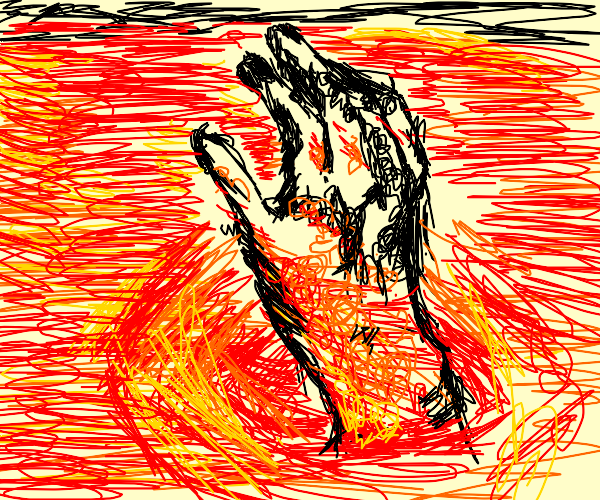 a hand sinking into lava