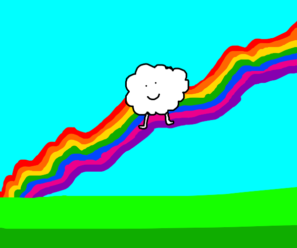 Sheep standing on a rainbow in the sky