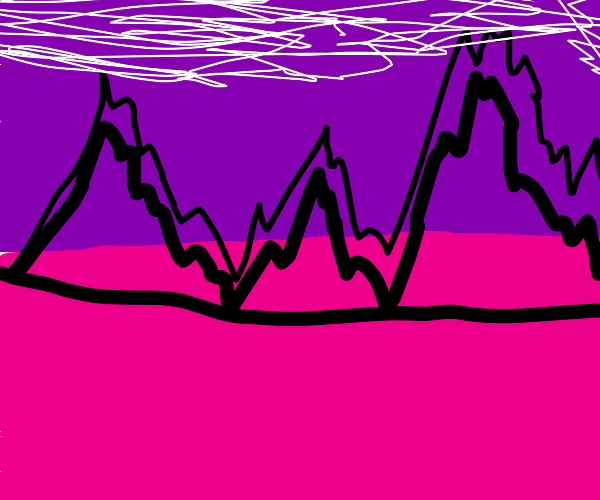 black mountains and purple sky and pink floor