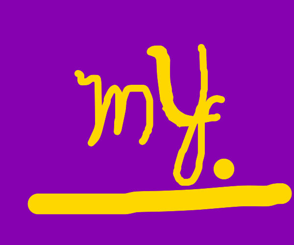 Yellow underlined MY. with purple background