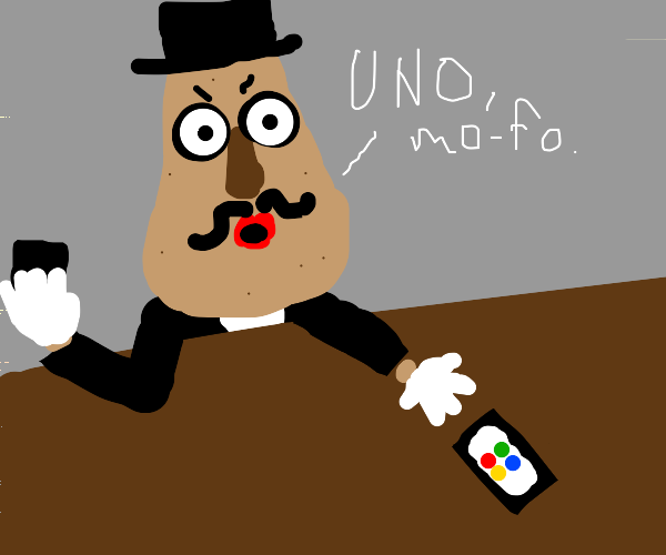 Potato Head is about to win Uno