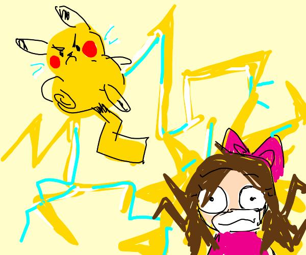 pikachu fights kawaii girl