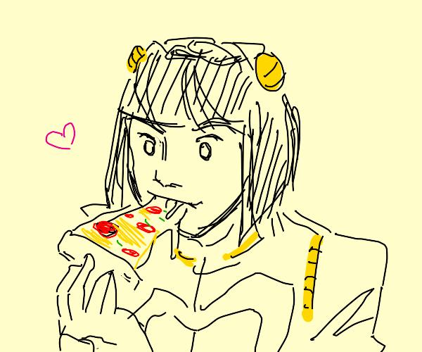 Bruno Bucciarati eating pizza