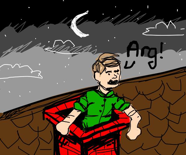 Old man coming out of chimney (not santa?)