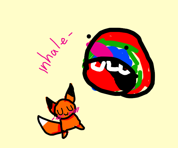 Some random colors eating a fox with uwu face