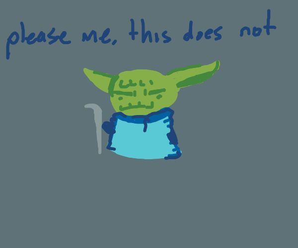 Angry Yoda wears blue shirt
