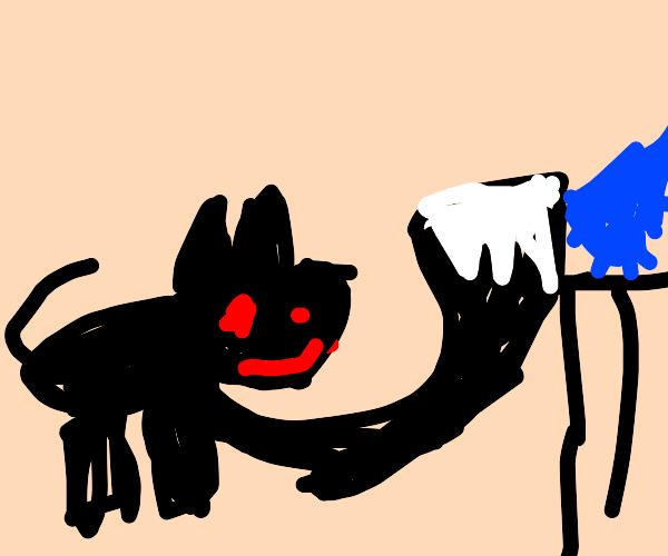 smug cat knocks over water