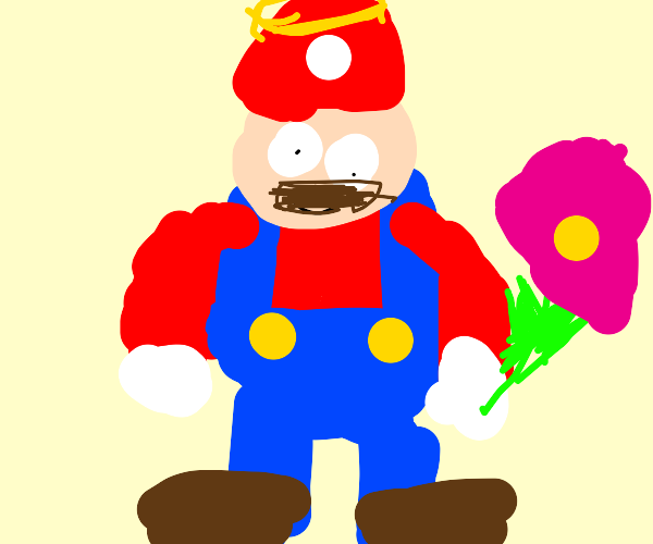 Angel Mario holds pink flower