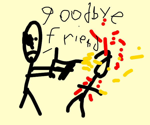 Stickman kills his friend with a gun