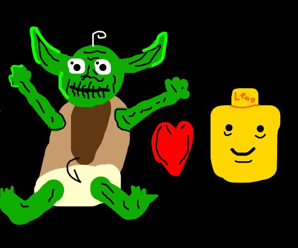 Baby Yoda loving Lego