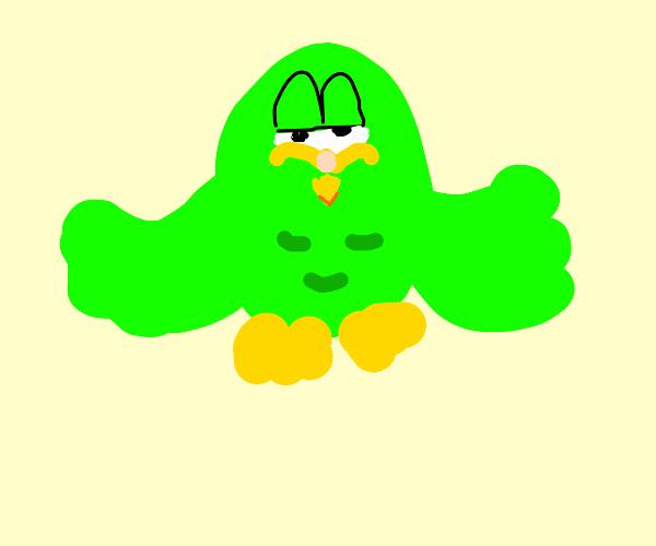 Garfield as the duolingo owl