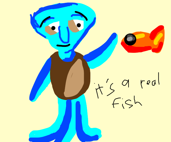 squidward meeting real fish