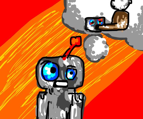 robot imagines smoking a pipe