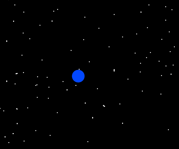 blue dot in the middle of space battle