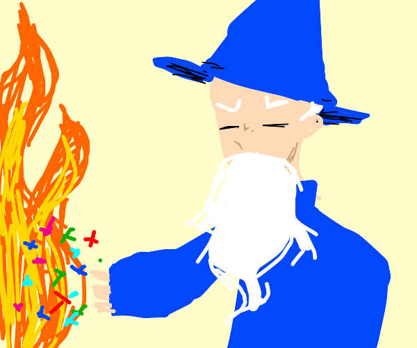 Wizard throws confetti at fire