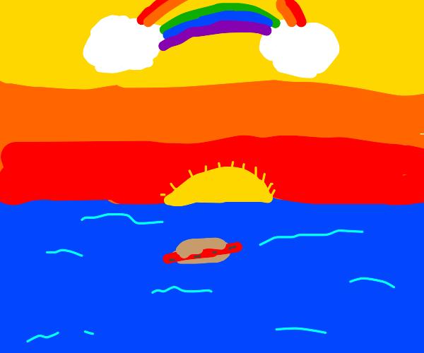 Hotdoge floating in the ocean beneath rainbow