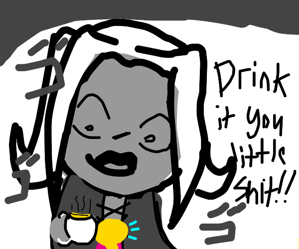 abbacchio offering a cup of piss to giorno