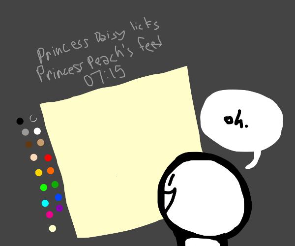 Princess Daisy licks Princess Peach's feet