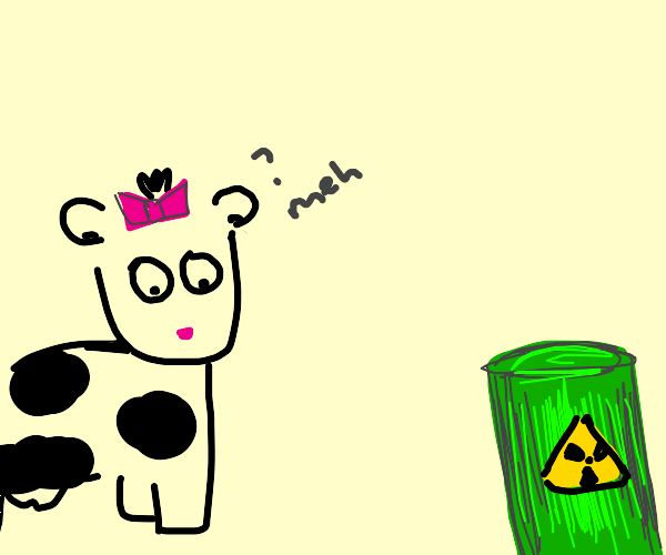 Cowgirl nonplussed by radioactive bin