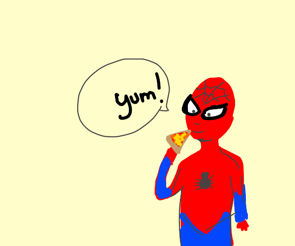 Spider-Man likes pizza and says yum