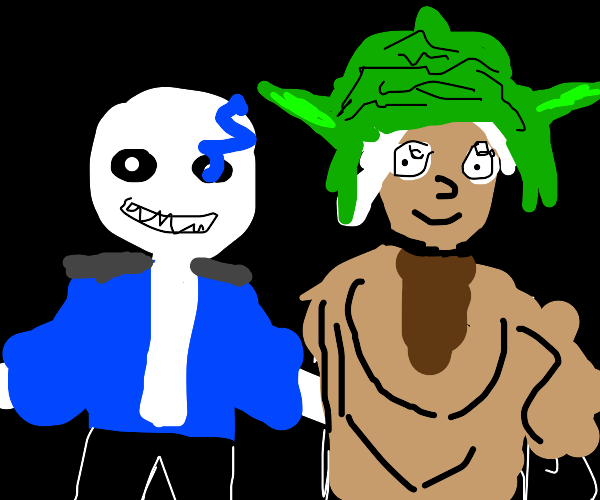 Sans and a guy in a Yoda costume