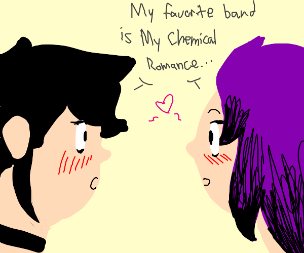 two emos look at each other