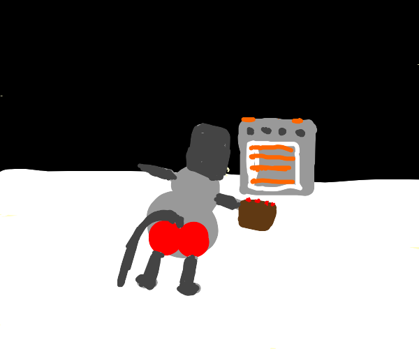 baboon puts cake in a oven