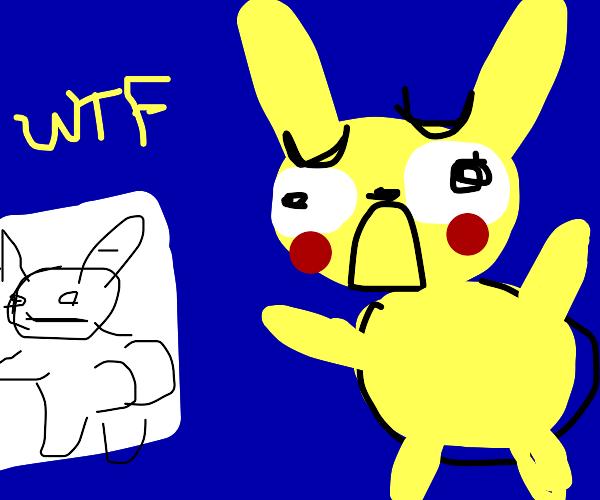 Pikachu looks at fanart in horror