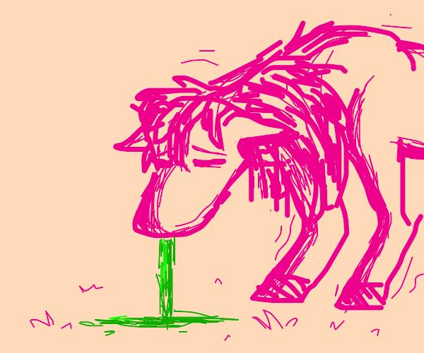 Pink horse vomiting