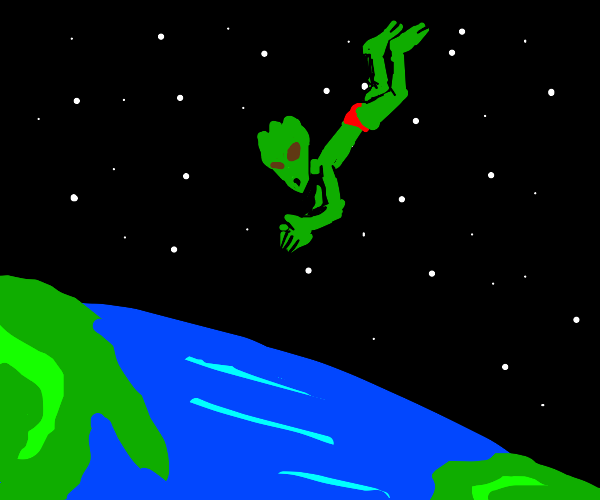 alien jumping from space into earths water
