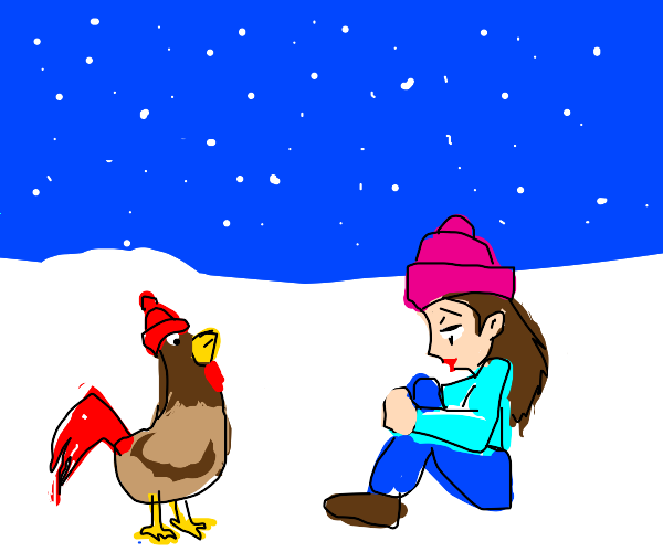 Girl and chicken in winter