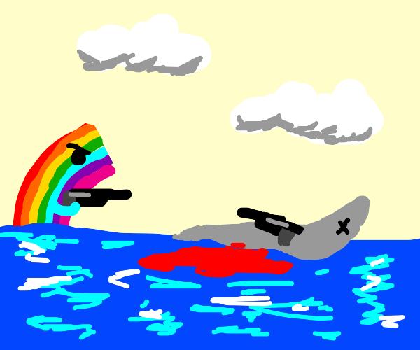 Rainbow kills armed dolphin