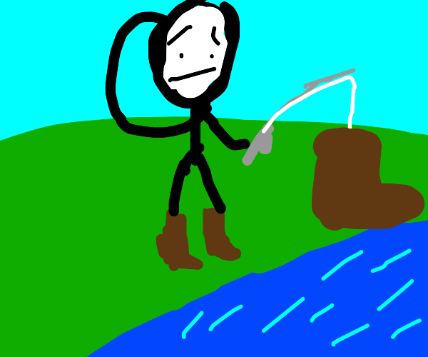 A Man Fishing and Fishes Out a Shoe.