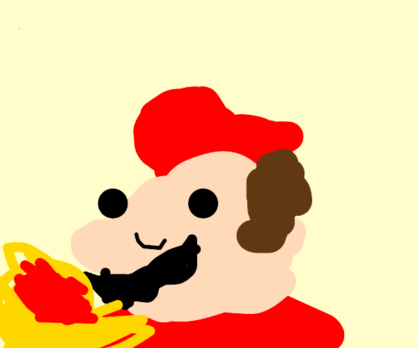 Mario eating spaghetti
